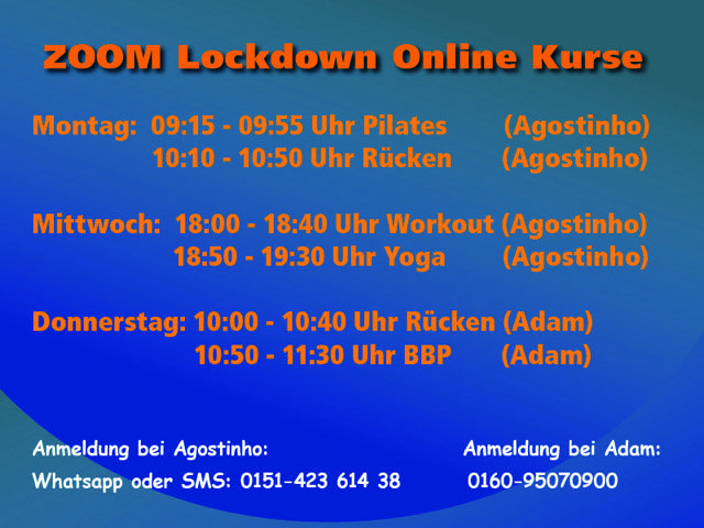 Zoom Lockdown Kursplan